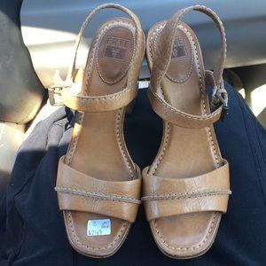 Frye leather sandals heels size 8